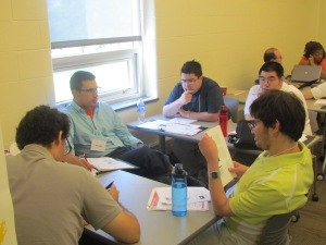 Trainees working in small groups.